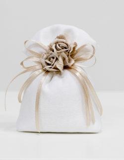 Sacchetto bianco con 2 roselline ecru