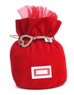 Sacchetto rosso vellutato con chiave RDM